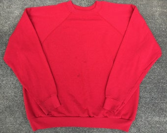 4774adcf133e Vintage 90s Tultex Blank Red Pull Over Size L Made in USA
