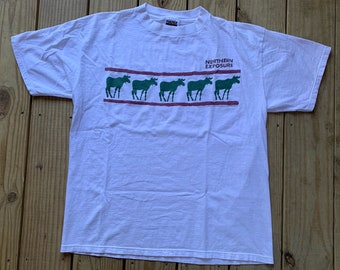 c471228ac93d Vintage 90s Northern Exposure Moose 1994 White T shirt Size Large Tultex Tv  Show Promo