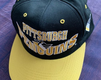 4521ceee113 Vintage 90s Pittsburgh Penguins Black and Gold Embroidered Hat NHL Stanley  Cup