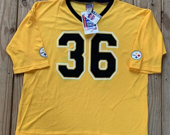84cadc2f0d7 Vintage 90s Pittsburgh Steelers Jerome Bettis Yellow Deadstock Jersey Size  Large Made in USA NOS