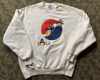 2c9470cfa15b Vintage 90s Pepsi Penguins White Pull Over Size Large Made in USA Jerzees