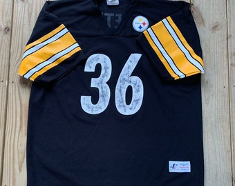 ffdd55441 Vintage 90s Pittsburgh Steelers Jerome Bettis  36 Mesh Black Jersey Size XXL  (54 56) Made in USA Logo Athletic