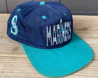 046cb5652c7c7 Vintage 90s Seattle Mariners Embroidered Hat Cap Snapback MLB Baseball Made  in USA