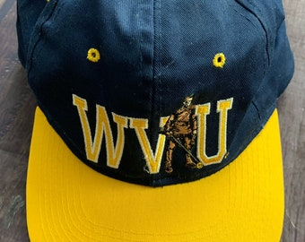 big sale 2ccce 9ac3d Vintage 90s WVU West Virginia University Mountaineers Navy and Yellow Hat  Cap Snapback Big 12 NCAA