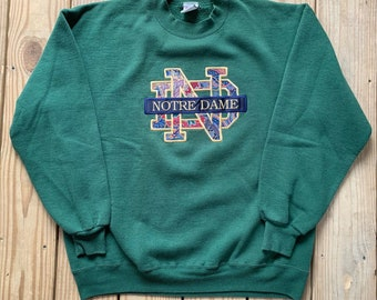 74aa81f1 Vintage 90s University Of Notre Dame Paisley Green Embroidered Pull Over Size  XL Made in USA 50/50