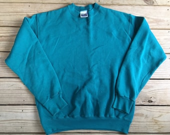 5bc64780f906 Vintage 90s Tultex Blank Teal Pull Over Size Large Made in USA 50/50