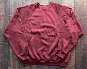 ad1b664e4d23 Vintage 90s Tultex Blank Burgundy Pull Over Size XL Made in USA