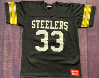 4bdae84a4e7 Vintage 80s Pittsburgh Steelers #33 Black and Gold Rawlings Merril Hoge Jersey  Size Medium Made in USA