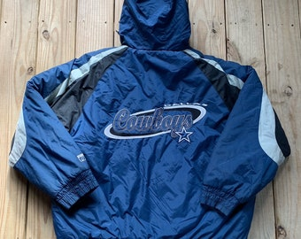 205cbc832 Vintage 90s Dallas Cowboys Navy Embroidered Puffer Coat Size XL NFL Football