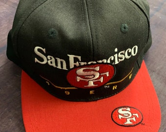 5f0a6815359 Vintage 90s San Francisco 49ers Embroidered Snapback Hat Black   Red NFL  Football