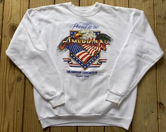 d41b95a8601c Vintage 90s Proud To Be America White Bald Eagle Pull Over Size Large 50/50  Made in USA
