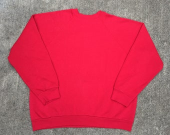 34c011ad41db Vintage 90s Tultex Blank Red Pull Over Size Large Made in USA