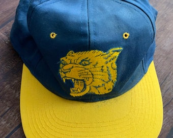Vintage 90s University Of Pittsburgh Pitt Panthers Spellout Snapback Hat  Blue and Yellow 5d8fc52e706