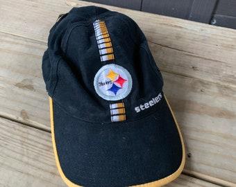 Vintage 90s Steelers NFL Black   Gold Pro line Logo Athletic Strap Back Hat cb2f1283cf28