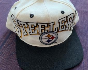 Vintage 90s Pittsburgh Steelers White Snapback Hat Cap NFL Football ecf2ec9da