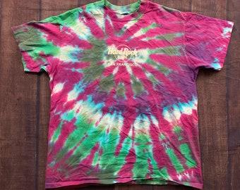 5b64448c3f23f Vintage 90s Hard Rock San Francisco Swirl Tie Dye Single Stitch T Shirt  Size Large Made In USA
