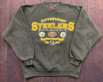 Vintage 90s Pittsburgh Steelers Super Bowl XXX 1995 Black Faded Pull Over  Size Large Made in USA NFL Football 8e44ec44d