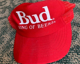 e13eed7813c Vintage 80s Budweiser Bud King Of Beers Red Mesh Trucker Hat Cap