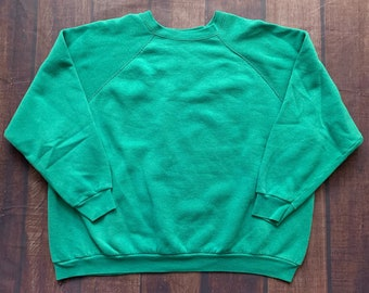 952a822222f5 Vintage 80s Tultex Turquoise Blank Pull Over Size 2x 50/50 Made in USA