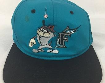 Vintage 90s Florida Marlins Taz Looney Tunes Hat MLB Baseball