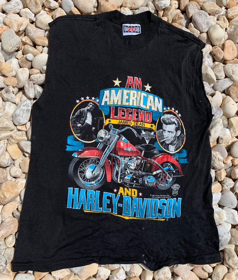 Vintage 80s An American Legend James Dean And Harley Davidson Cut Off T Size Medium Made in USA