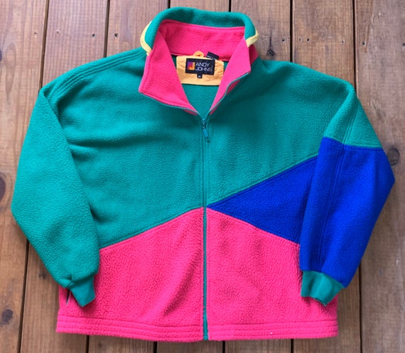 Vintage 90s Andy Johns Color Block Cut & Sewn Flee