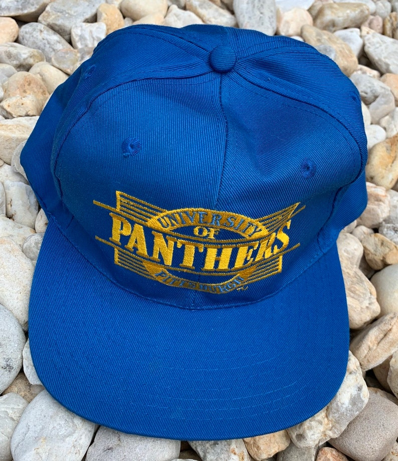 5c4bb8c06 Vintage 90s University Of Pittsburgh Pitt Panthers Blue and Gold Snapback  Hat Cap