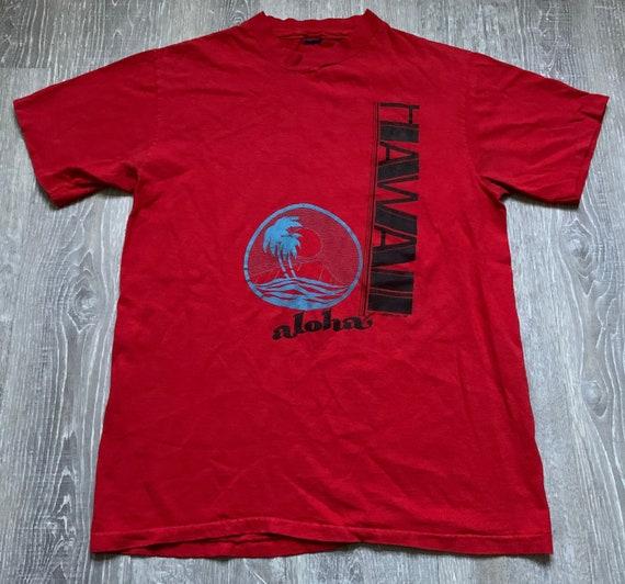 Vintage 80s Hawaii Aloha Red Tourist T shirt Sz Me