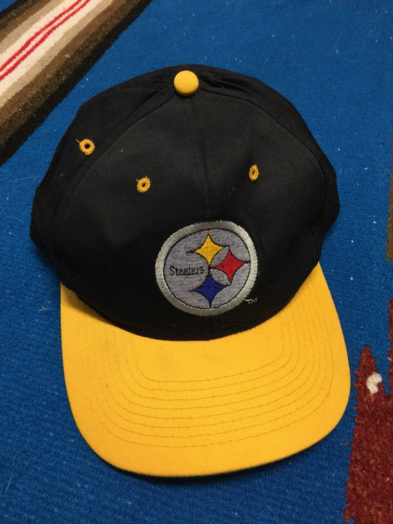 3132741d5 Vintage 90s Pittsburgh Steelers Black Hat Cap Snapback NFL