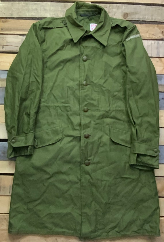 Vintage 80s Danmark Six Button Canvas Olive Green… - image 1