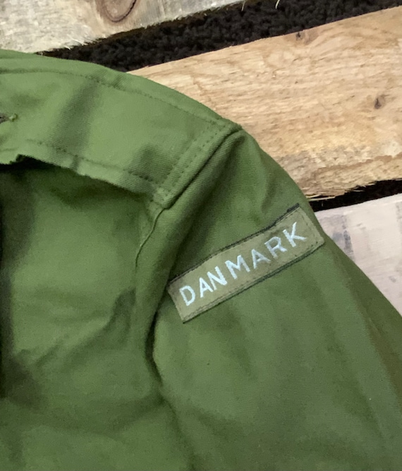 Vintage 80s Danmark Six Button Canvas Olive Green… - image 3