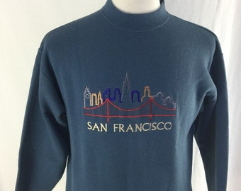 Vintage 90s San Francisco Blue Embroidered Crew Neck Size Medium Tultex