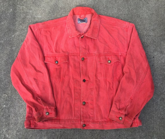 best supplier genuine shoes half price Vintage 90s Washed Denim Hot Pink Jean Jacket Size XLarge