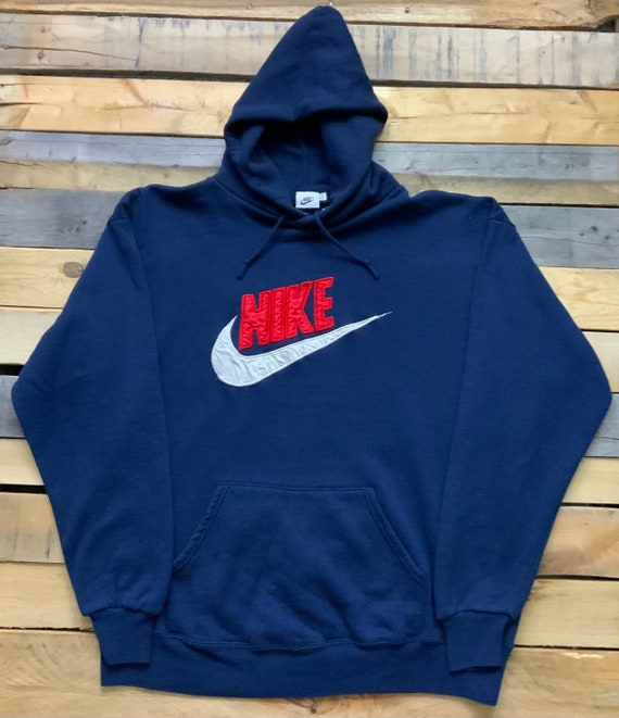 Vintage 90s Nike Repro Blue and Red Pull Over Hoo… - image 1
