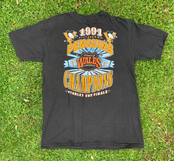 Vintage 90s Pittsburgh Penguins 1991 Stanley Cup Champions T Shirt Size Large Made In USA