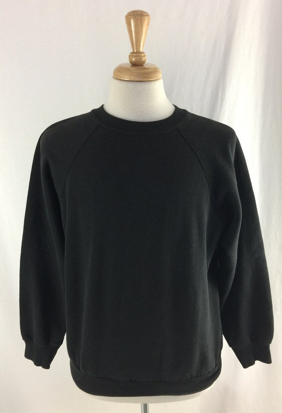 cbe9252612a4 Vintage 90s Tultex Blank Black Pull Over Size Large Made in | Etsy