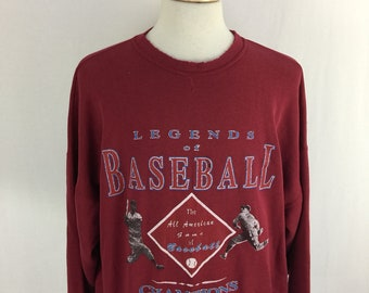 "Vintage 90s Legends Of Baseball ""All American Game of baseball"" Burgundy Pull Over Size XXL"