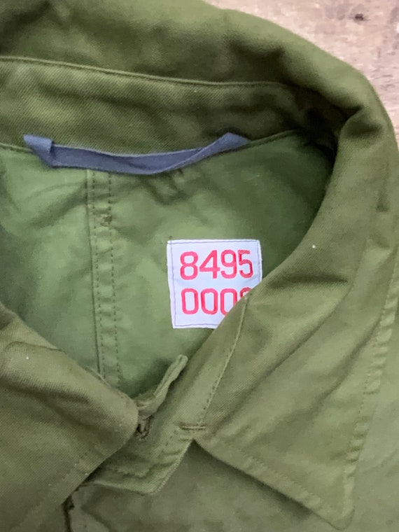 Vintage 80s Danmark Six Button Canvas Olive Green… - image 4