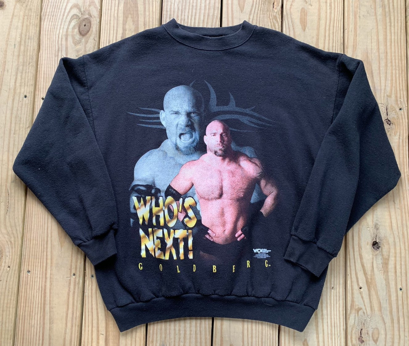 f69666bdff44 Vintage 90s WCW Goldberg Who's Next Black Pull Over Size | Etsy