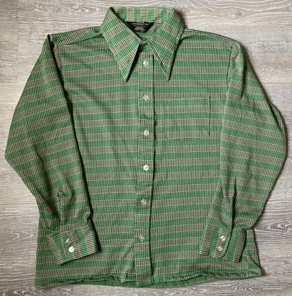 Vintage Button Down Well Worn Shirt Size Xl 70/'s Vintage Light Weight Long Sleeve Button Down By Towncraft JcPenny Size XL