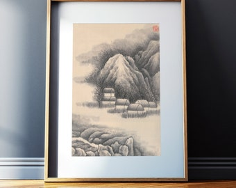 Chinese landscape, Mountain Fog Village, Original Ink Drawing