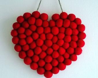 Felt ball  heart, heart decoration, hanging heart, felt heart ornament, felted heart, custom, home decor, wedding decor, felted hearts