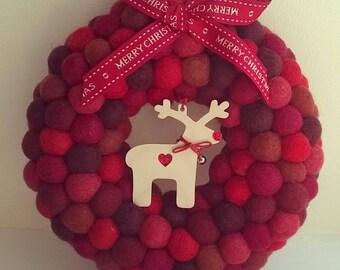 Christmas wreath, felt ball wreath, wreath, felt balls, wool felt balls, pom pom wreath, holiday wreath, modern wreath, christmas decoration