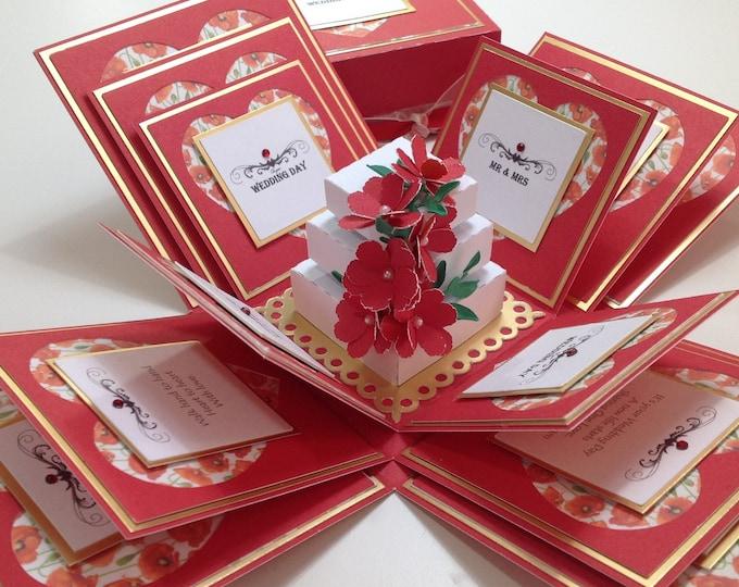 Featured listing image: 3.5 Inch Square Exploding Wedding Keepsake Box ~ Wedding Gift ~ English Garden Range ~ Gift for the couple - Mr & Mrs - Wedding Day.5