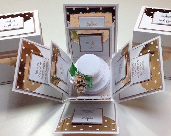 Featured listing image: 2.5 Inch Square Exploding Wedding Keepsake Box ~ Wedding Gift ~ Elegance Range ~ Gift for the couple - Wedding Day - Mr & Mrs