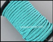 2 Yards 5mm Flat BRAIDED Leather Cord - 6 Feet TURQUOISE Blue Genuine Natural Indian Leather Lead free Dye Cording - Diy Wholesale Usa
