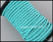 1 Yard 5mm Flat BRAIDED Leather Cord - 3 Feet TURQUOISE Blue Genuine Natural Indian Leather Lead free Dye Cording - Diy Wholesale Usa