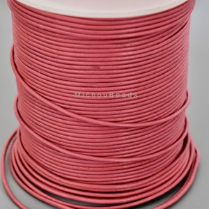 DIY Wholesale Jewelry 1 Yard 1mm Round Leather Cord Dark Rose PINK 3 Feet Genuine Natural Lead Free Dye Indian Leather Cording