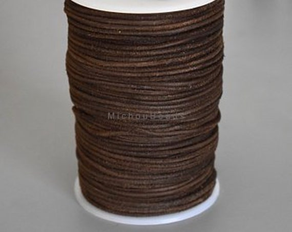 1mm genuine round cord leather leather 1mm round lace 1,3,5,10,25 yd section