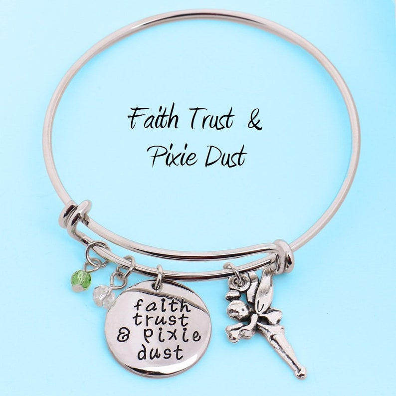 e4f7051d3 Faith Trust & Pixie Dust Charm Bracelet Tinkerbell Bangle | Etsy